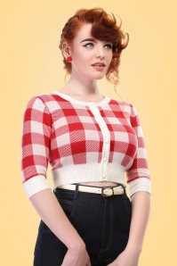 Collectif Clothing Lucy Gingham Cardigan in Red 20645 20161130 0009