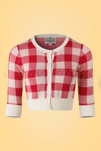 50s Lucy Gingham Cardigan in Red and Ivory