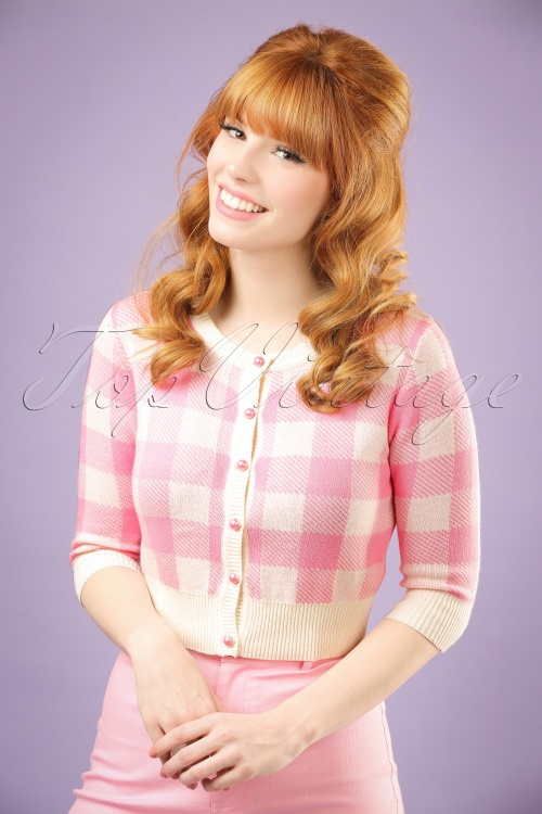 Collectif Clothing Lucy Gingham Cardigan in Pink 20644 20121224 0001w