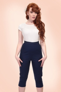 Collectif Clothing Gracie Plain Capris in Navy 20650 20161201 0018