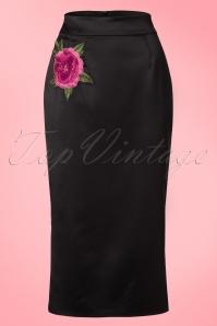 Collectif Clothing Sakiko Fishtail Skirt in Black 20764 20161201 0005W
