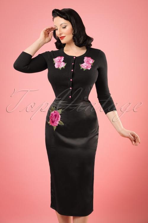 Collectif Clothing Sakiko Fishtail Skirt in Black 20764 20161201 1W