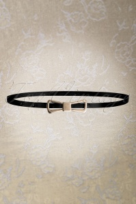 60s Golden Bow Leather Belt in Matte Black