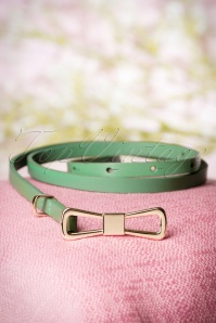 60s Golden Bow Leather Belt in Opal Green