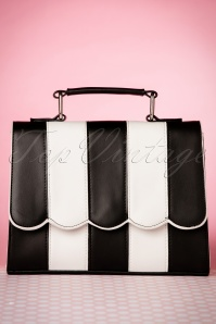50s Stella Striped Handbag in Black and White