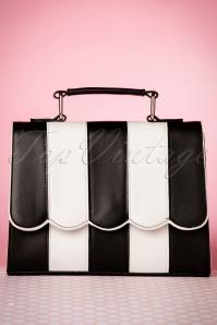 Stella Striped Handbag Années 50 en Noir et Blanc