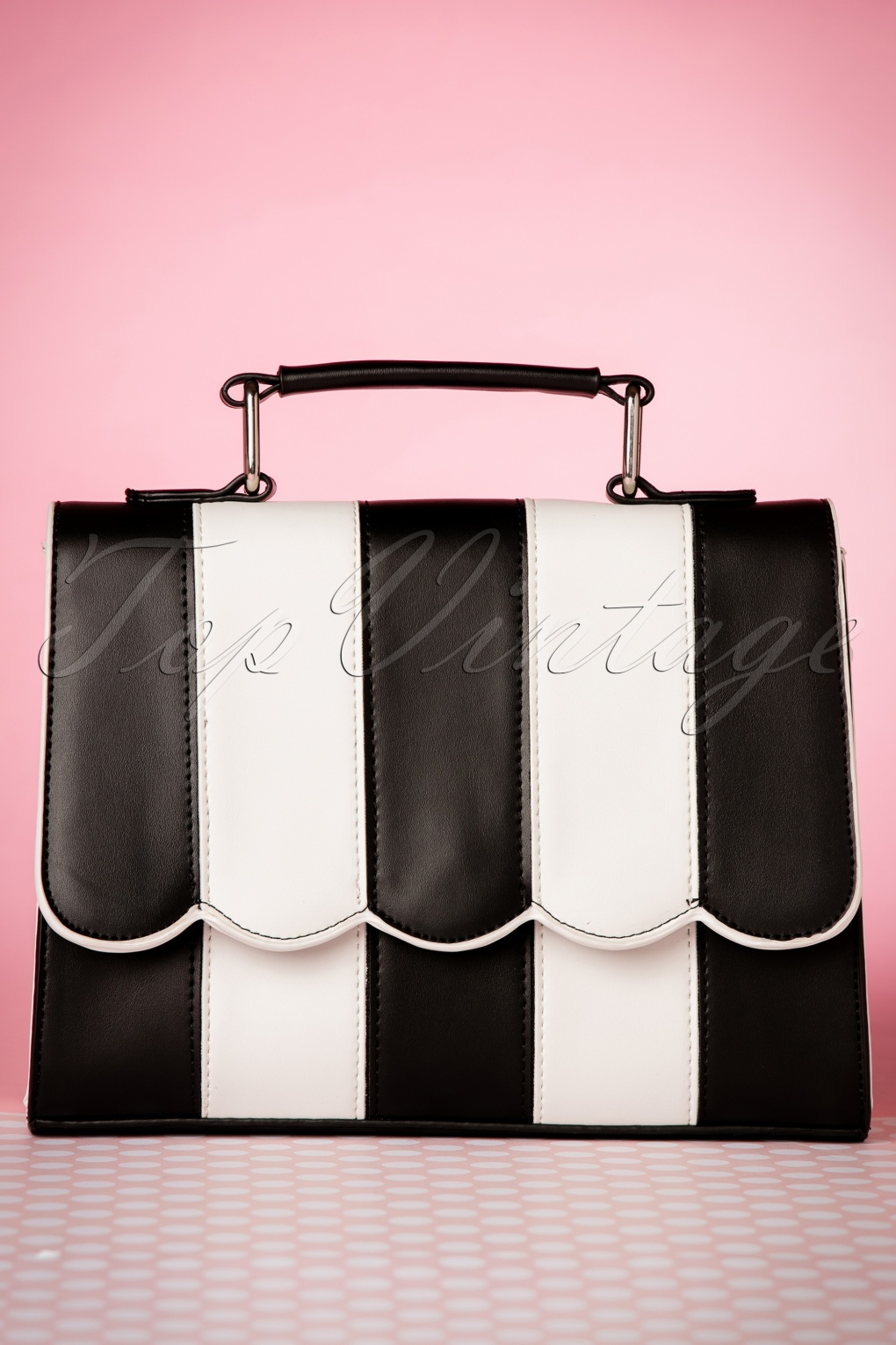 1950s Handbags, Purses, and Evening Bag Styles 50s Stella Striped Handbag in Black and White £55.16 AT vintagedancer.com