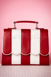 50s Stella Striped Handbag in Red and White