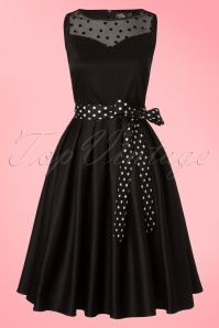 50s Elizabeth Polkadot Swing Dress in Black