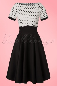 50s Darlene Polkadot Swing Dress in Black and White