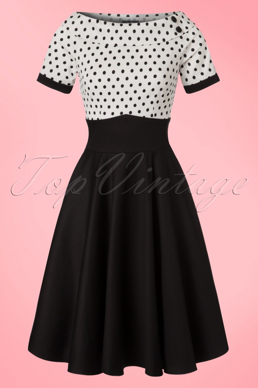 Pin Up Dresses | Pin Up Clothing 50s Darlene Polkadot Swing Dress in Black and White £43.83 AT vintagedancer.com
