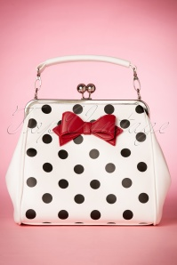 50s Mindy Polkadot Handbag in White