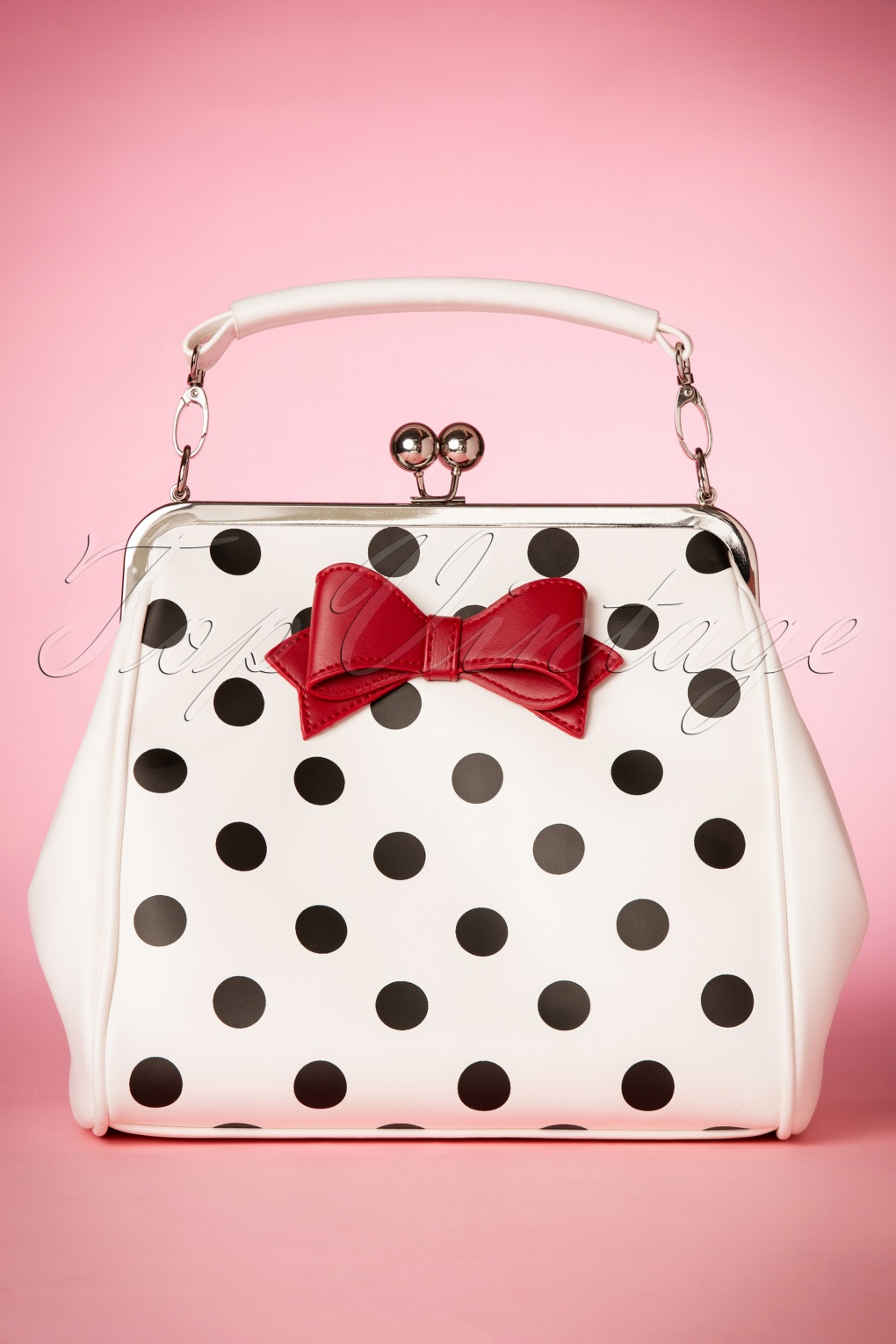 1950s Handbags, Purses, and Evening Bag Styles 50s Mindy Polkadot Handbag in White £54.87 AT vintagedancer.com