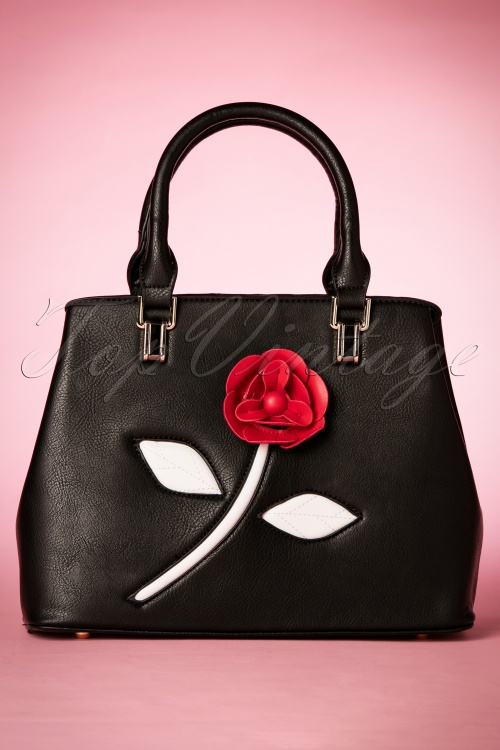 La Parisienne Black Red Rose Handbag 212 10 21181 02132017 003W