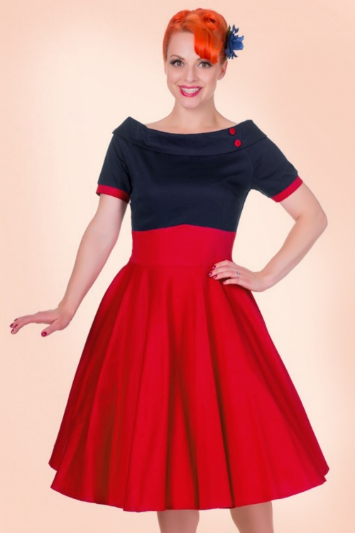 1960s Style Dresses- Retro Inspired Fashion 50s Darlene Swing Dress in Black and Hot Pink £45.45 AT vintagedancer.com