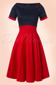50s Darlene Swing Dress in Navy and Red