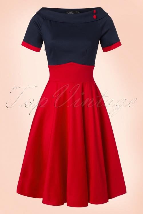 Dolly and Dotty 50s Darlene Red Blue Swing Dress  102 20 21151 20170216 0012w