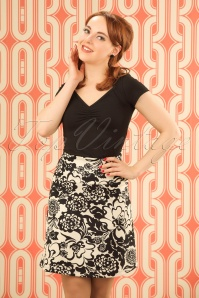 King Louie Borderskirt in Black and Creme Floral Print 123 57 20229 20170109 1W