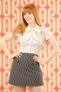 Lucie Spiral Skirt Années 60 en Bleu Marine