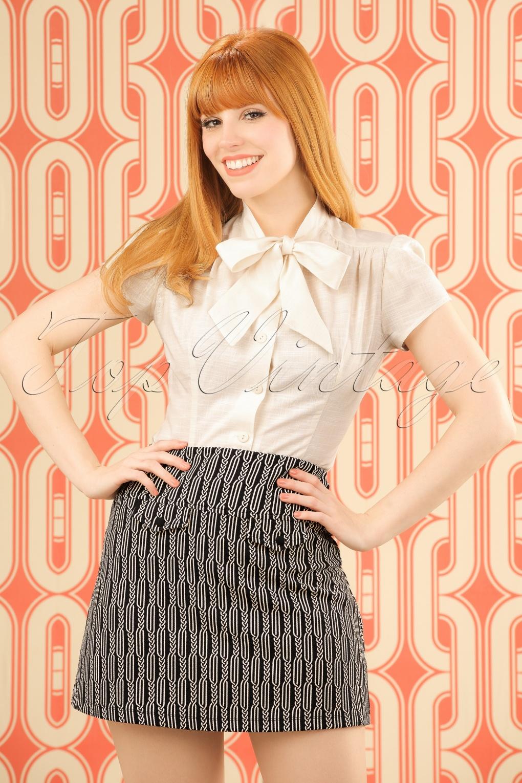 1960s Style Skirts 60s Lucie Spiral Skirt in Dark Navy £60.39 AT vintagedancer.com