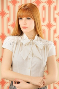 40s Estelle Linen Look Blouse in Ivory