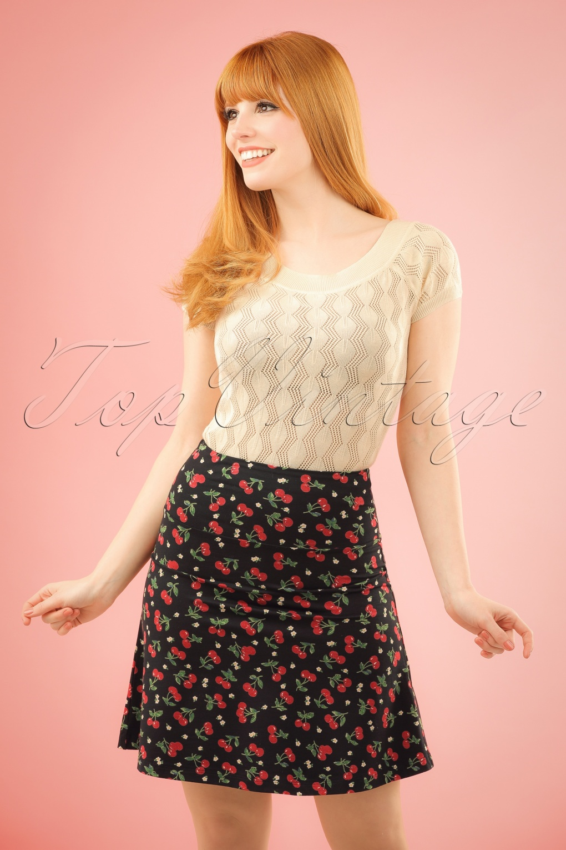 1960s Style Skirts 50s Temptation Cherry Borderskirt in Black £51.76 AT vintagedancer.com