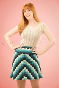 70s Frisky Borderskirt in Dragonfly Blue