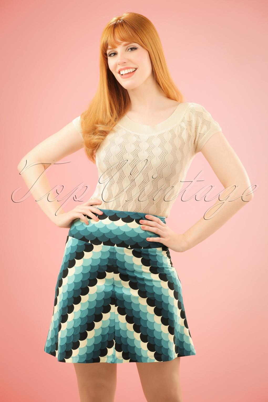 1960s Style Skirts 70s Frisky Borderskirt in Dragonfly Blue £51.50 AT vintagedancer.com