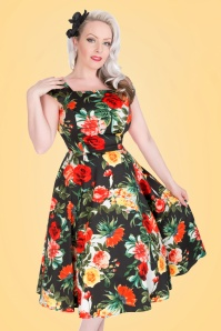 50s Christy Roses Swing Dress in Navy