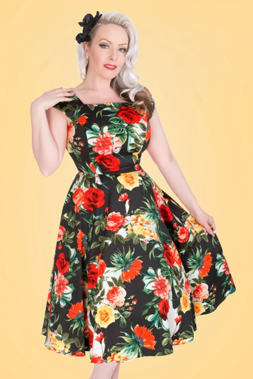 Hearts and Roses Navy Rose Floral Swing Dress 102 39 19991 20170216 001