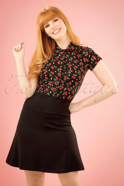 1960s Style Dresses, Clothing, Shoes UK 50s Borderskirt Milano in Black £58.80 AT vintagedancer.com
