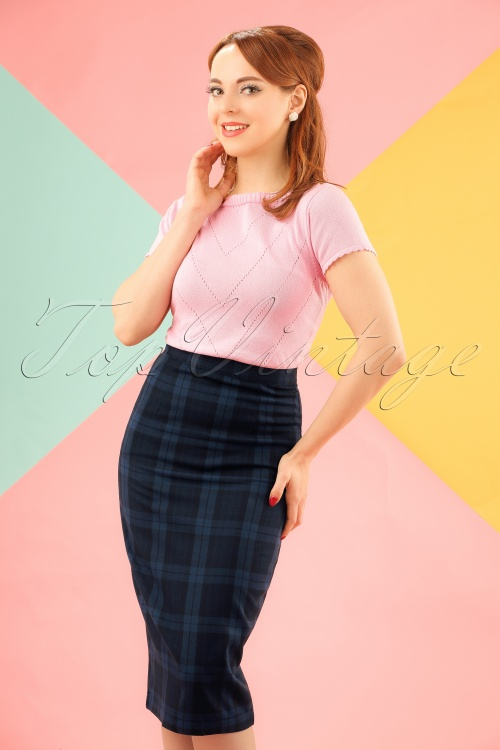 Bunny Livingstone Plaid Skirt in Navy Black 120 39 19578 20161125 0008w
