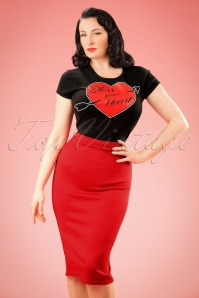 50s Bella Scuba Midi Skirt in Red