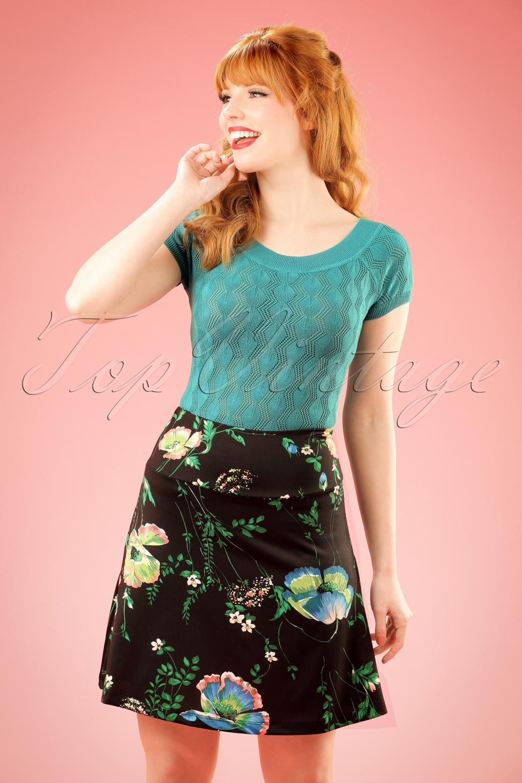 1960s Style Skirts 60s Frivoli Borderskirt in Black £51.50 AT vintagedancer.com