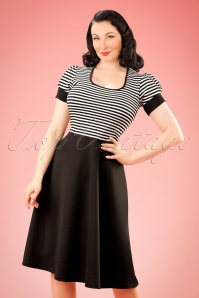 50s Robin Swing Dress in Black and White Stripes