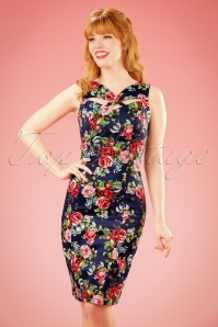 Hearts and Roses Blue Floral Pencil Dress 100 39 17128 20151124 0008w