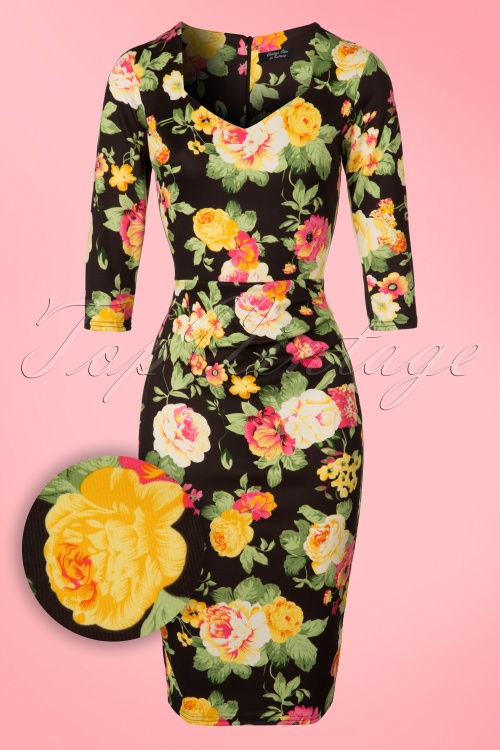 Vintage Chic Black Floral Pencil Dress 100 14 21247 20170216 0003W1
