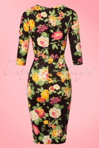 Vintage Chic Black Floral Pencil Dress 100 14 21247 20170216 0001W