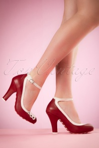 50s June Hearts Leather Pumps in Red