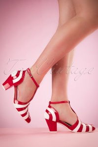 50s Elsie Striped Patent Pumps in Red and White