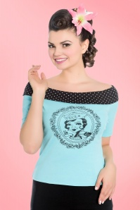 50s True Sailor Dots Top in Aqua Blue