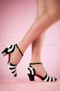 50s Elsie Striped Patent Pumps in Black and White