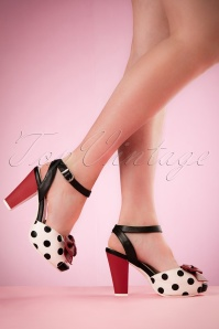 50s Angie Polkadot Sandals in Black and White