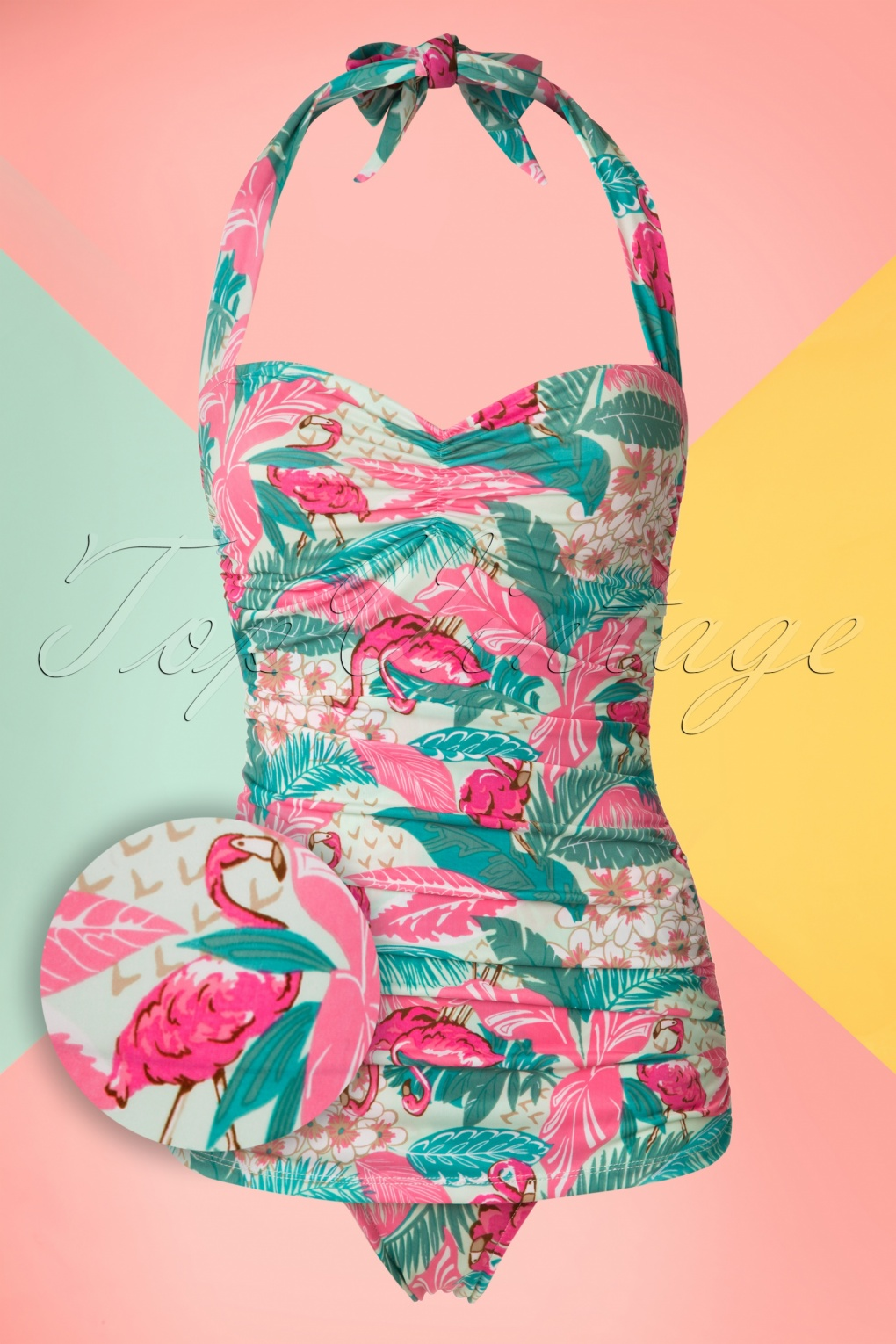 Vintage Inspired Retro Swimsuits 50s Flamingo Sarong Front Swimsuit in Mint £84.79 AT vintagedancer.com