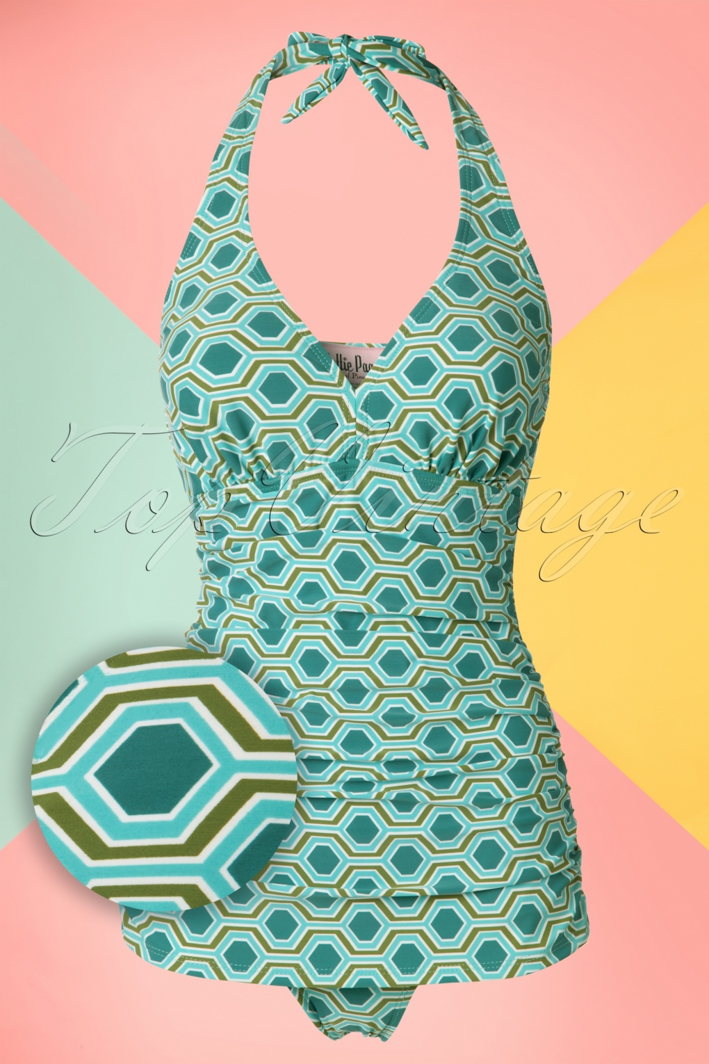 Vintage Inspired Retro Swimsuits 50s Retro Rushed Halter Swimsuit in Blue and Green £84.79 AT vintagedancer.com