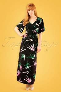 60s Mae Bamboo Maxi Dress in Black