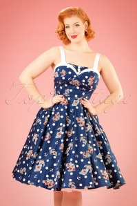 50s Oceana Sailor Swing Dress in Navy