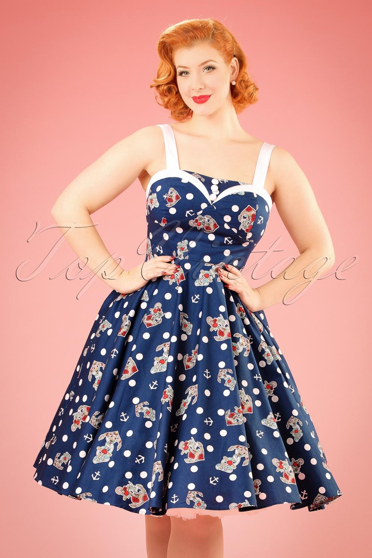 Pin Up Dresses | Pin Up Clothing 50s Oceana Sailor Swing Dress in Navy £51.76 AT vintagedancer.com