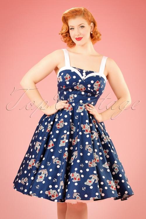 1950s Rockabilly Dresses 50s Oceana Sailor Swing Dress in Navy £51.98 AT vintagedancer.com