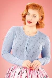 50s Goddess Flamingo Cardigan in Light Blue
